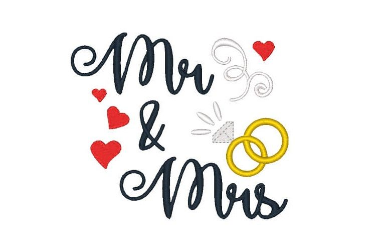 Mr and Mrs Machine Embroidery Design Saying Wedding Design example image 1