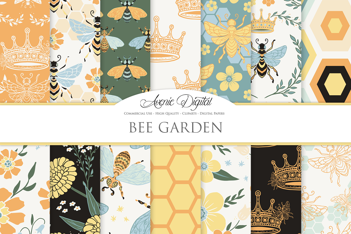 Bee Garden Seamless Vector Patterns and Digital Papers example image 1