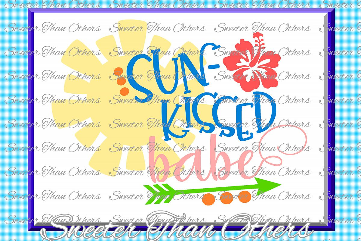 Beach Svg Sun Kissed Babe svg, Summer Beach pattern example image 1