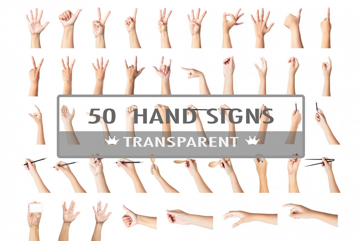 50 Hand signs tranparent example image 1