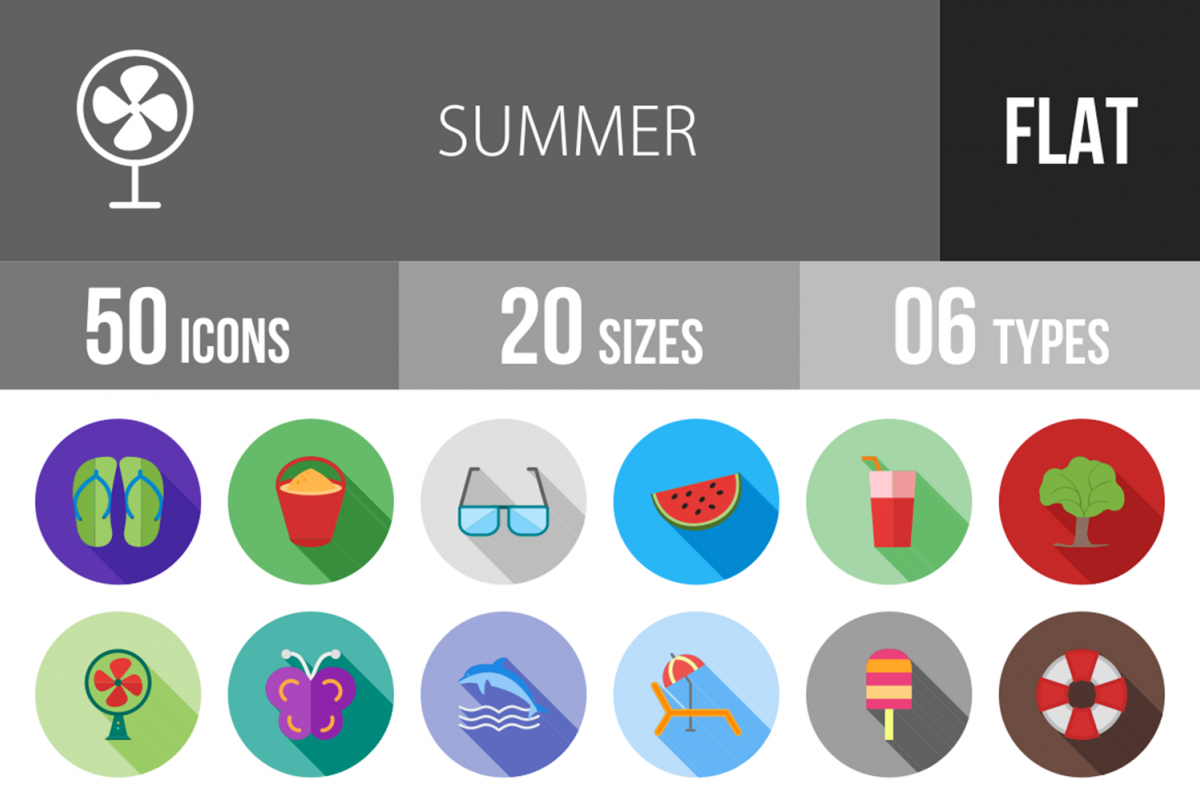 50 Summer Flat Long Shadow Icons example image 1
