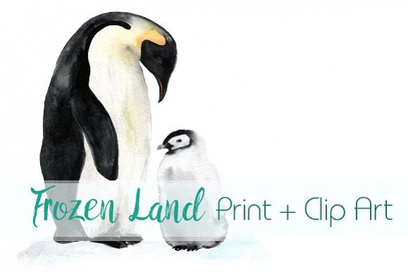 Frozen Land Watercolor Print+ClipArt example image 1