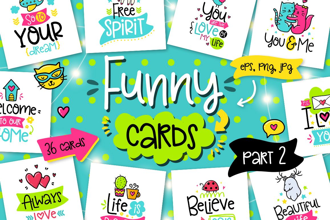 36 Funny Lettering Cards Collection! example image 1