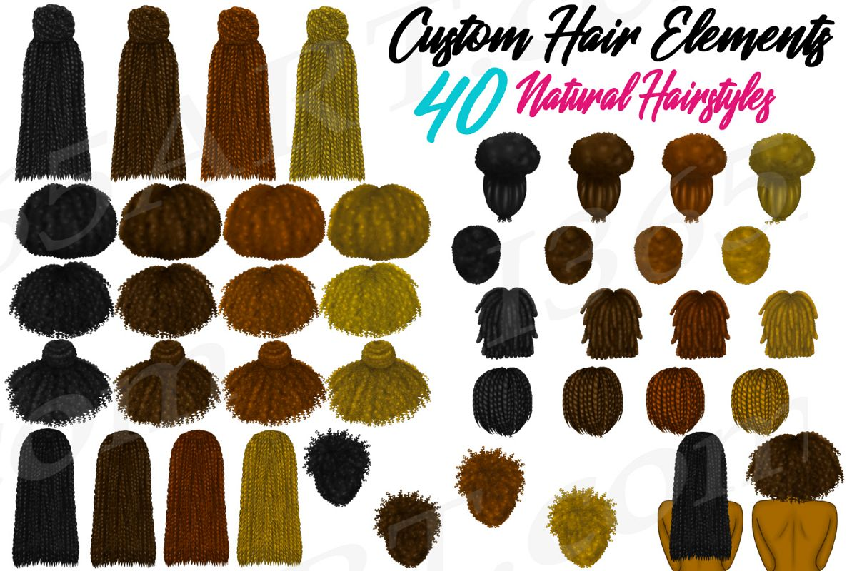 Natural Black Hairstyles Clipart Fashion Character Builder example image 1