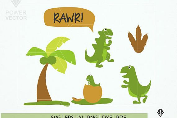 Funny Dinosaur Svg. Dinosaur Print and Cut File. Dinosaur Family Clip Art example image 1