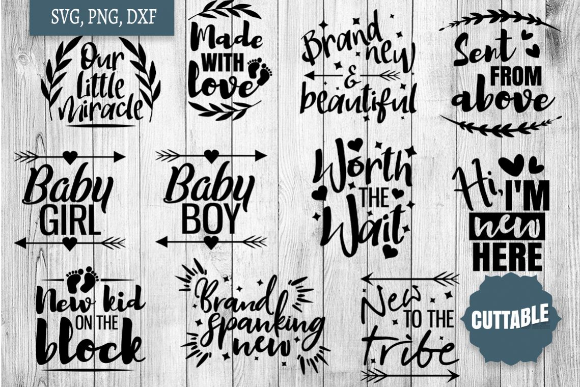 New Baby SVG, Baby cut file Bundle, new Mom cut files example image 1