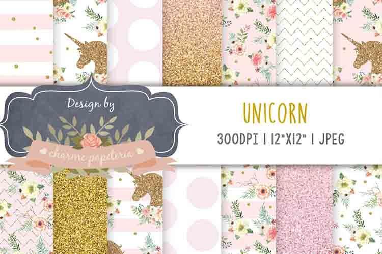 Unicorn glitter Digital Paper, Rainbow, Gold, Glitter, heart example image 1