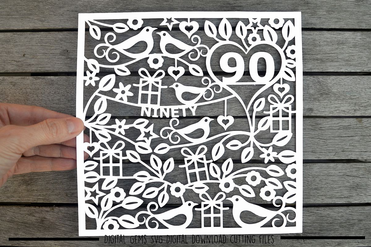Number 90 paper cut SVG / DXF / EPS files example image 1