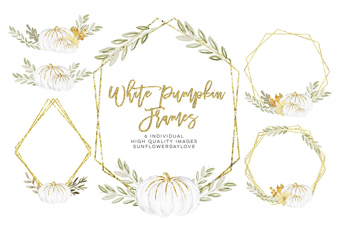 white pumpkin wreath, Fall watercolor wreath example image 1