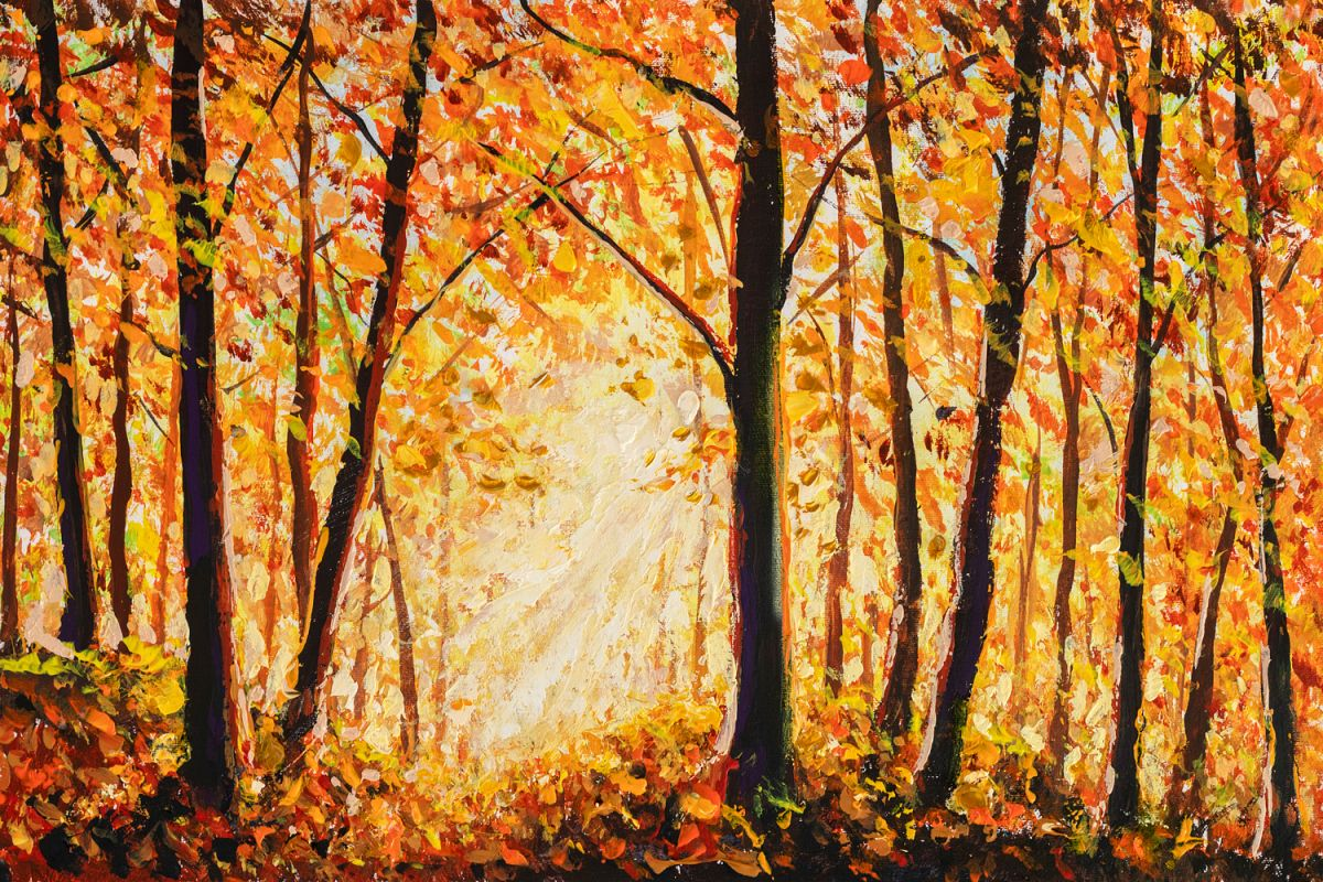 Autumn forest painting example image 1