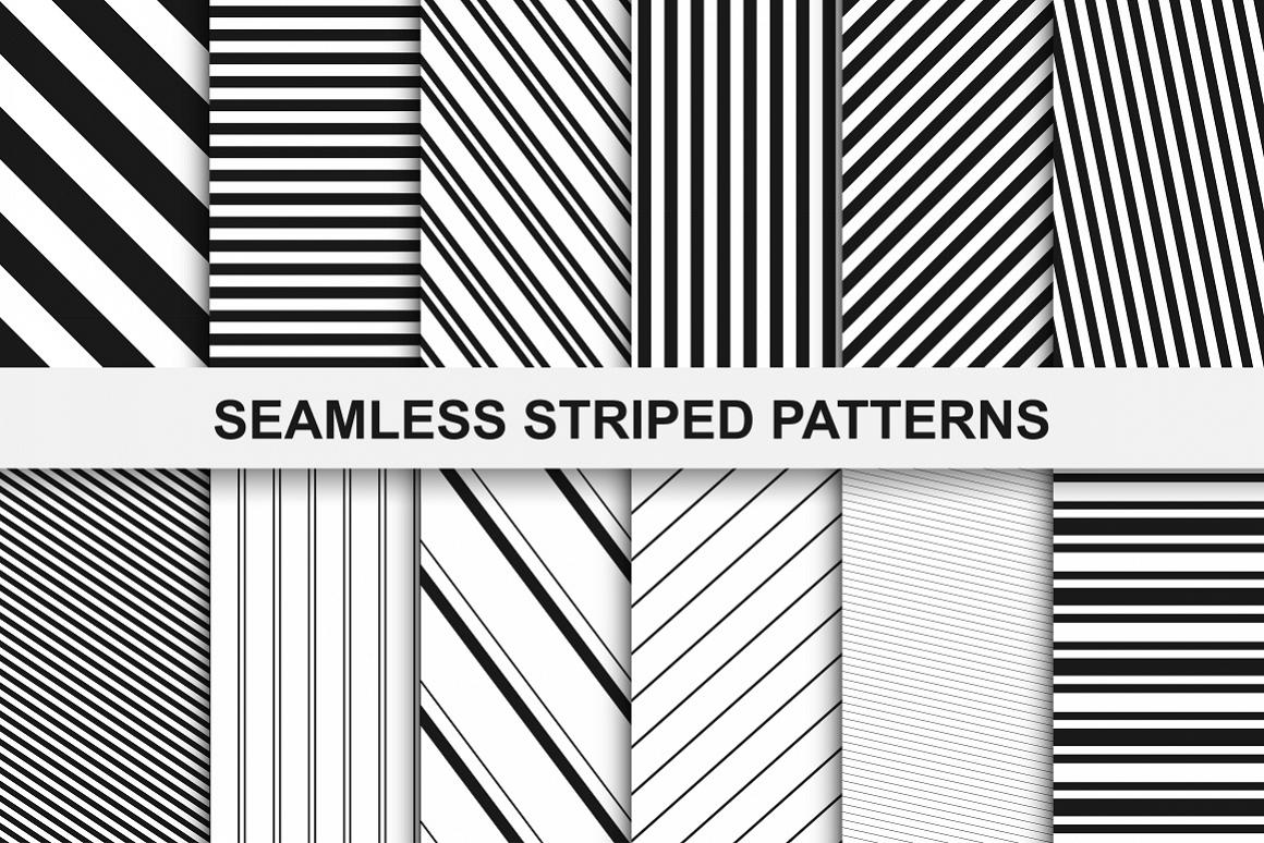Striped seamless patterns set. example image 1