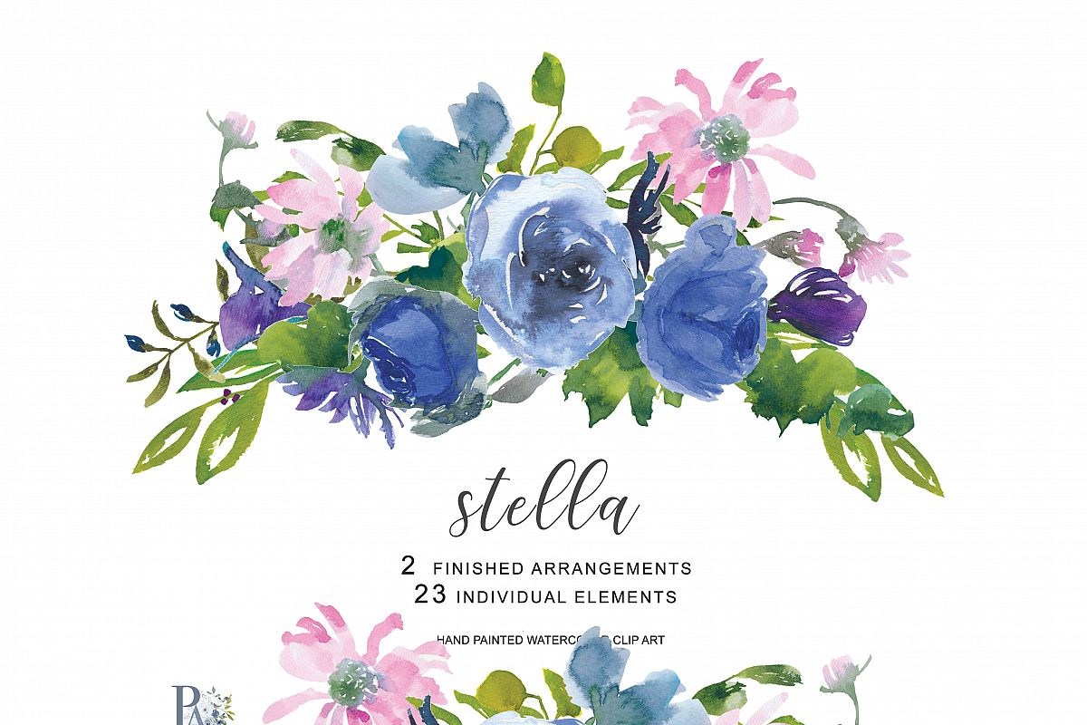 Hand Painted Watercolor Wedding Flowers Design Bundles