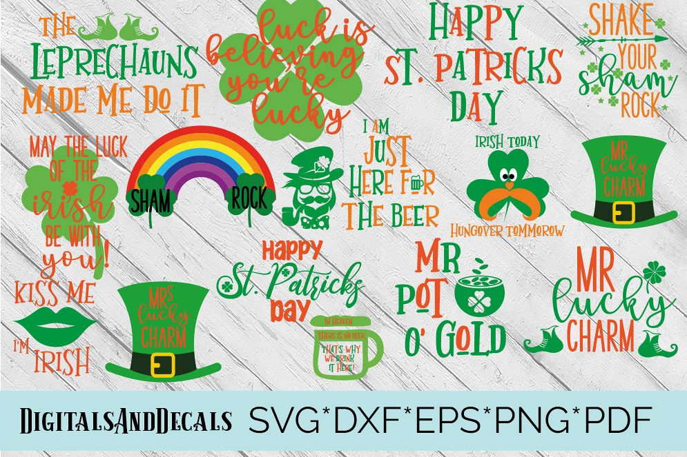 St Patrick's Day Design Bundle SVG, DXF, EPS, png Files for Cutting Machines Cameo or Cricut - St Paddys Day svg, Irish svg, Lucky svg example image 1