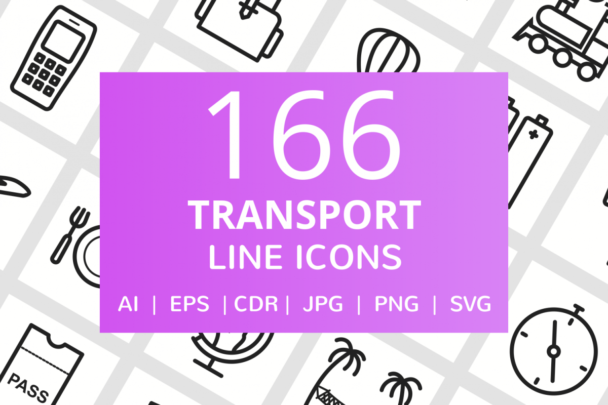 166 Transport Line Icons example image 1
