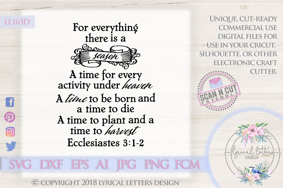 For Everything There is a Season Ecclesiastes SVG DXF LL163D example image 1