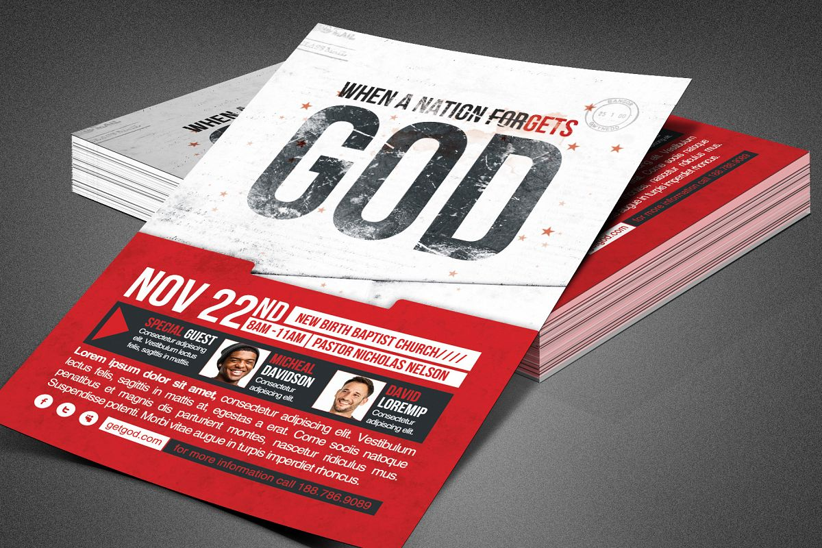 Nation Forgets God Church Flyer example image 1