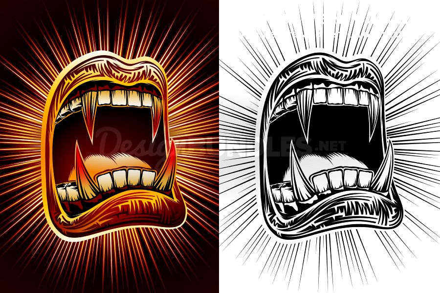 Vector Mouth Open Halloween Vampire Jaws Fang Stamp Print example image 1
