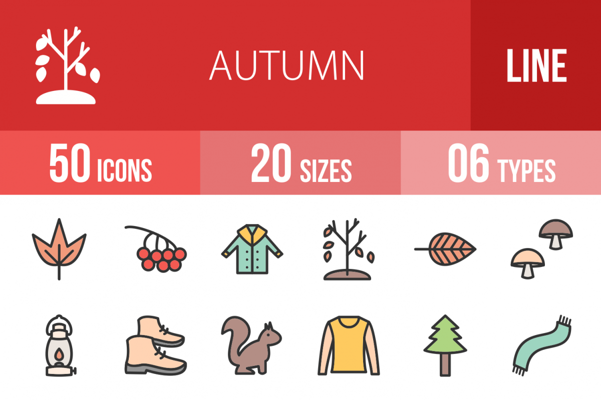 50 Autumn Linear Multicolor Icons example image 1