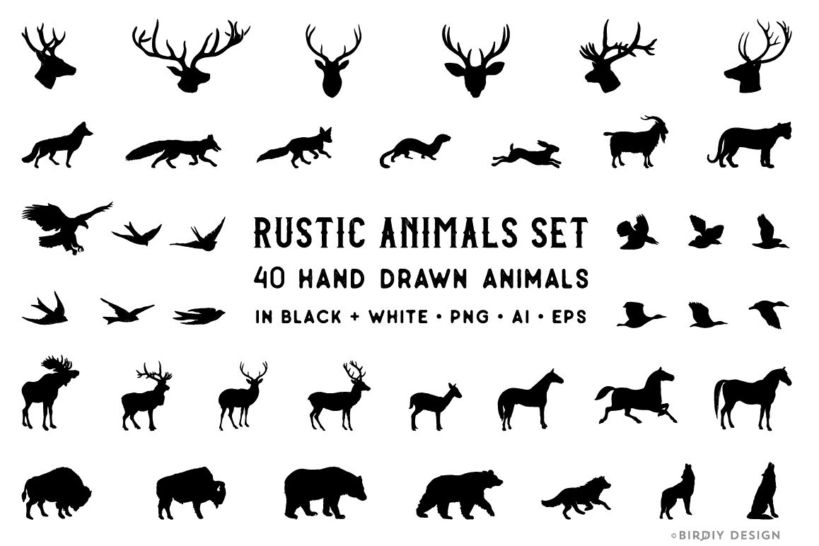 Rustic Animals Clipart - AI PNG EPS example image 1