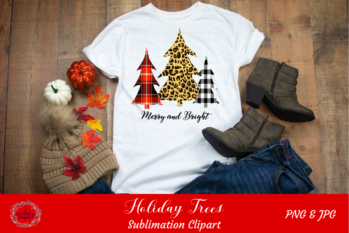 Merry and Bright Plaid Leopard Print Christmas Trees ClipArt example image 1