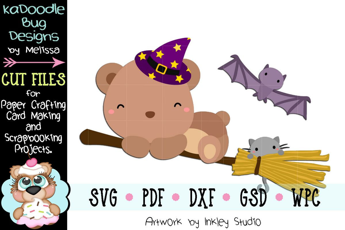 Halloween Witch Broom Bear Cut File -SVG PDF DXF GSD WPC example image 1