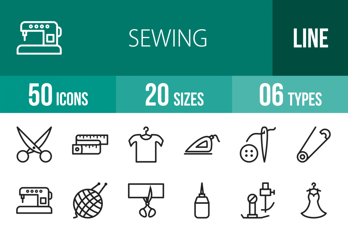 50 Sewing Line Icons example image 1