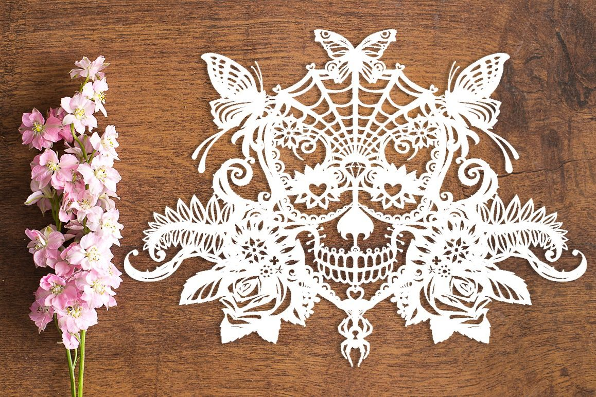 Candy Sugar Skull - Paper Cutting Template example image 1