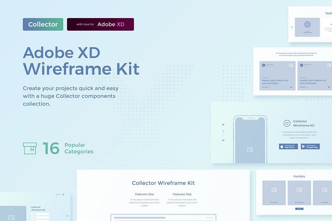 Collector Wireframe Web Kit example image 1