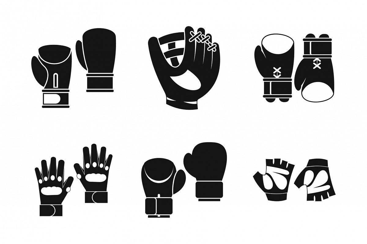 Sport gloves icon set, simple style example image 1