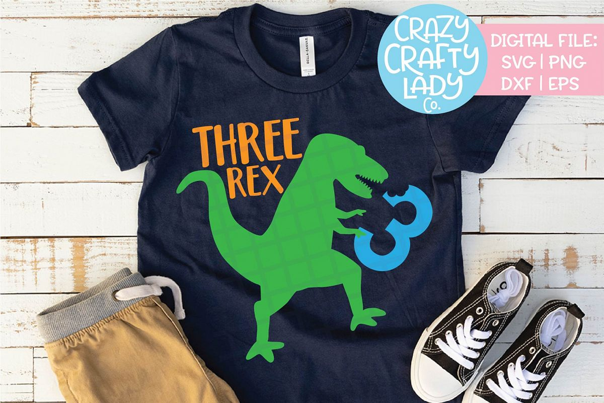Three Rex 3rd Birthday Dinosaur SVG DXF EPS PNG Cut File Example Image 1