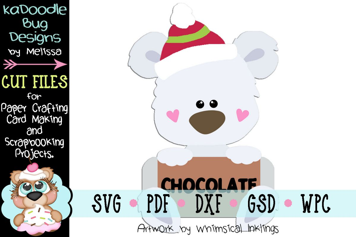 Warm Winter Chocolate Bear Cut File - SVG PDF DXF GSD WPC example image 1