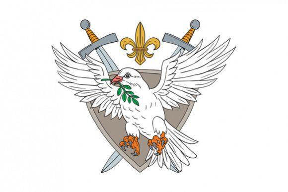 Dove Olive Leaf Sword Fleur De Lis Crest Drawing example image 1