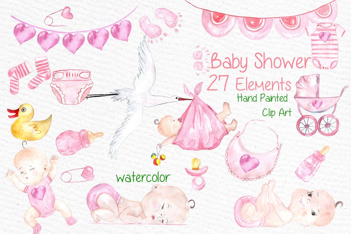 Watercolor baby shower girl clipart example image 1