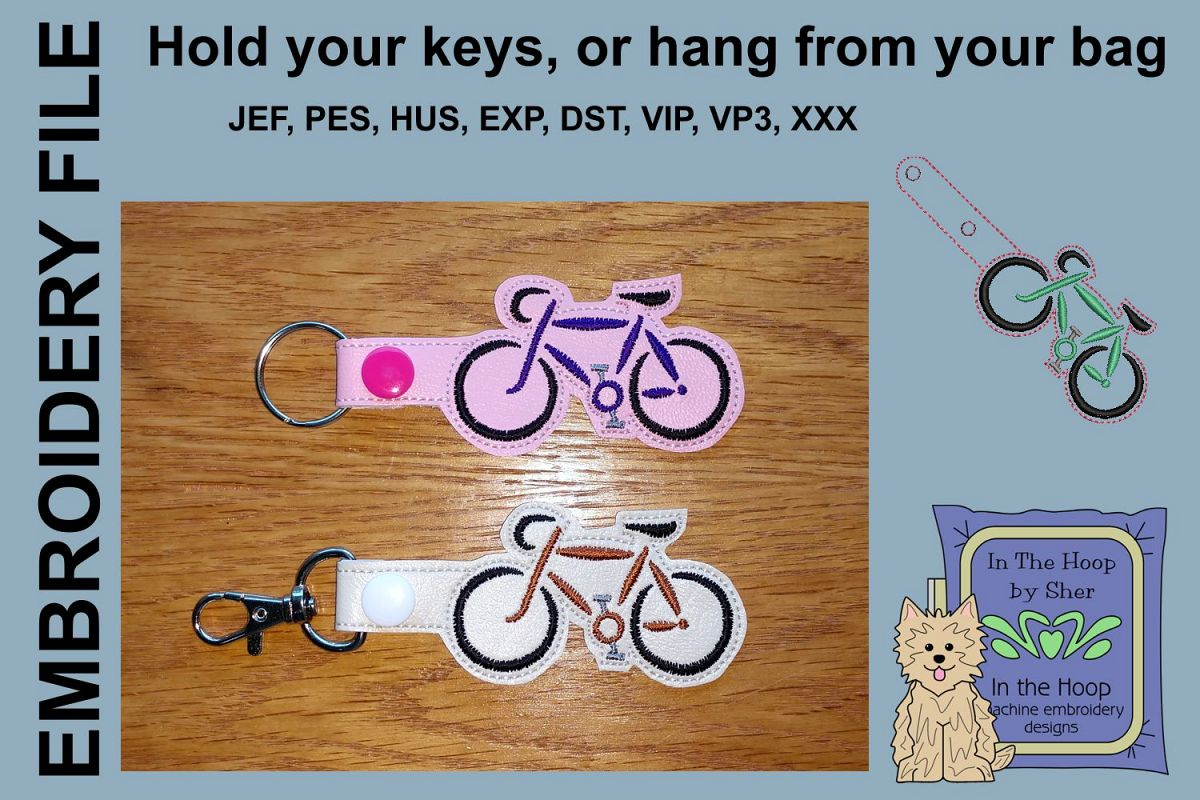 ITH Road Bike Key Fob - Embroidery Design example image 1