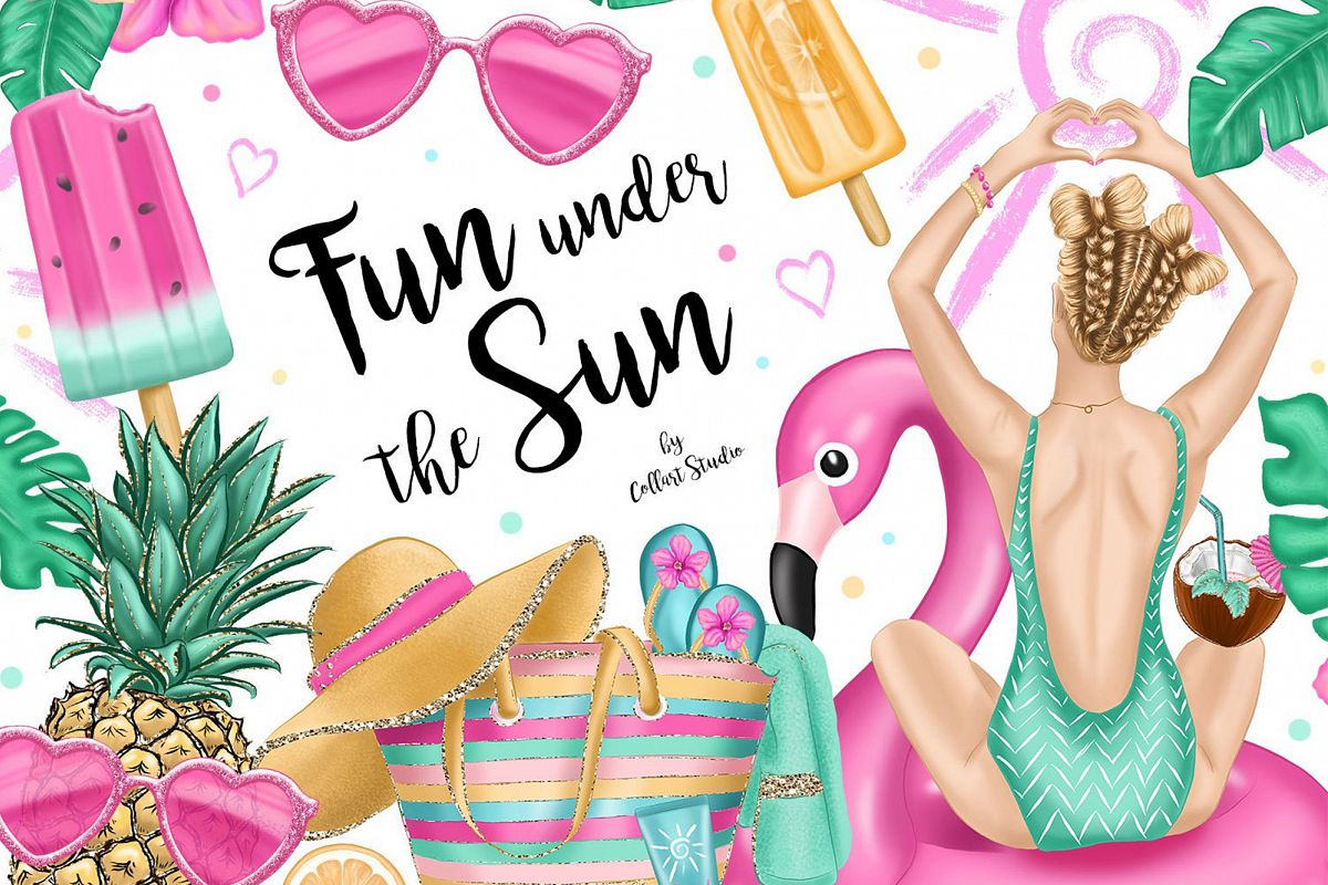 Summer Clipart Summer Fashion beach illustrations pool party