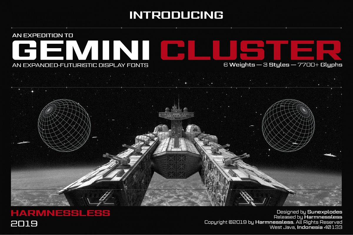 Gemini Cluster - Expanded Futuristic Fonts example image 1