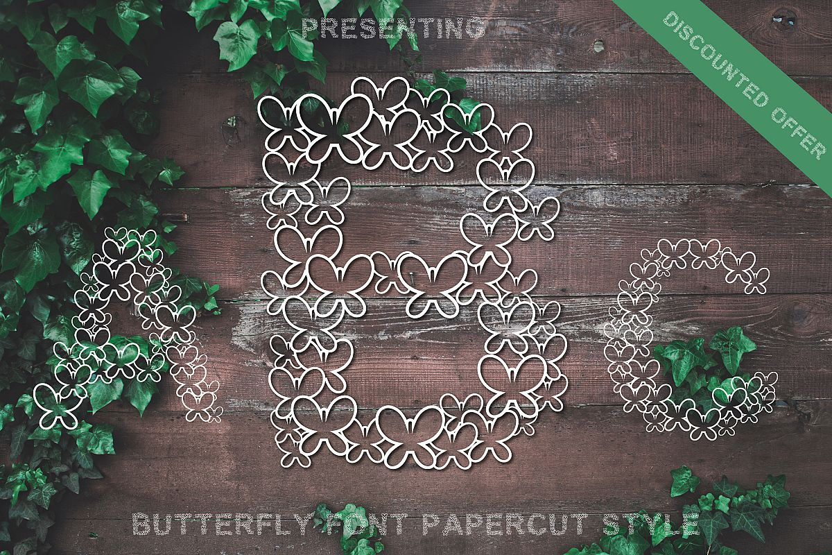 Butterfly Font - Alphabets Butterfly Shapes for Crafters example image 1