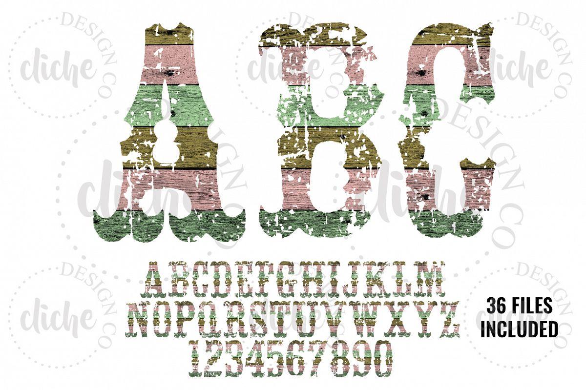 Grunge Wood Alphabet Sublimation Set example image 1