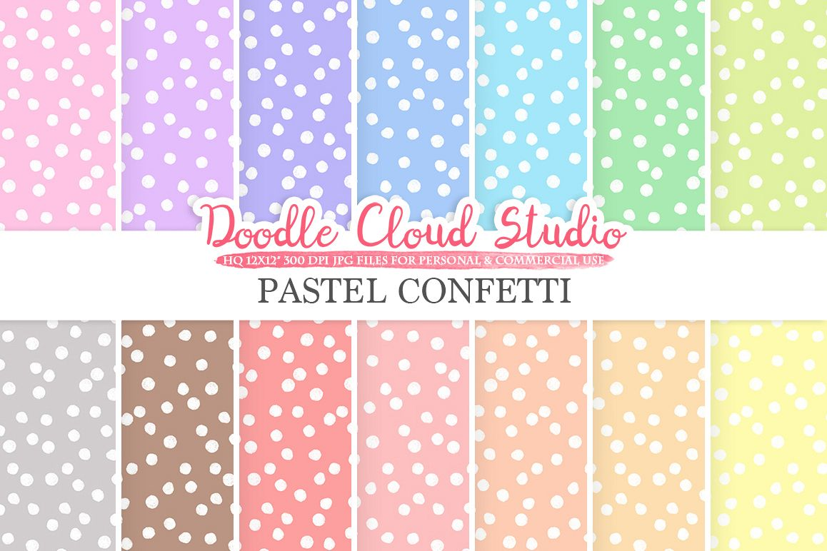 Pastel Confetti digital paper, Snow patterns, Digital Confetti, pastel colors background, Instant Download for Personal & Commercial Use example image 1