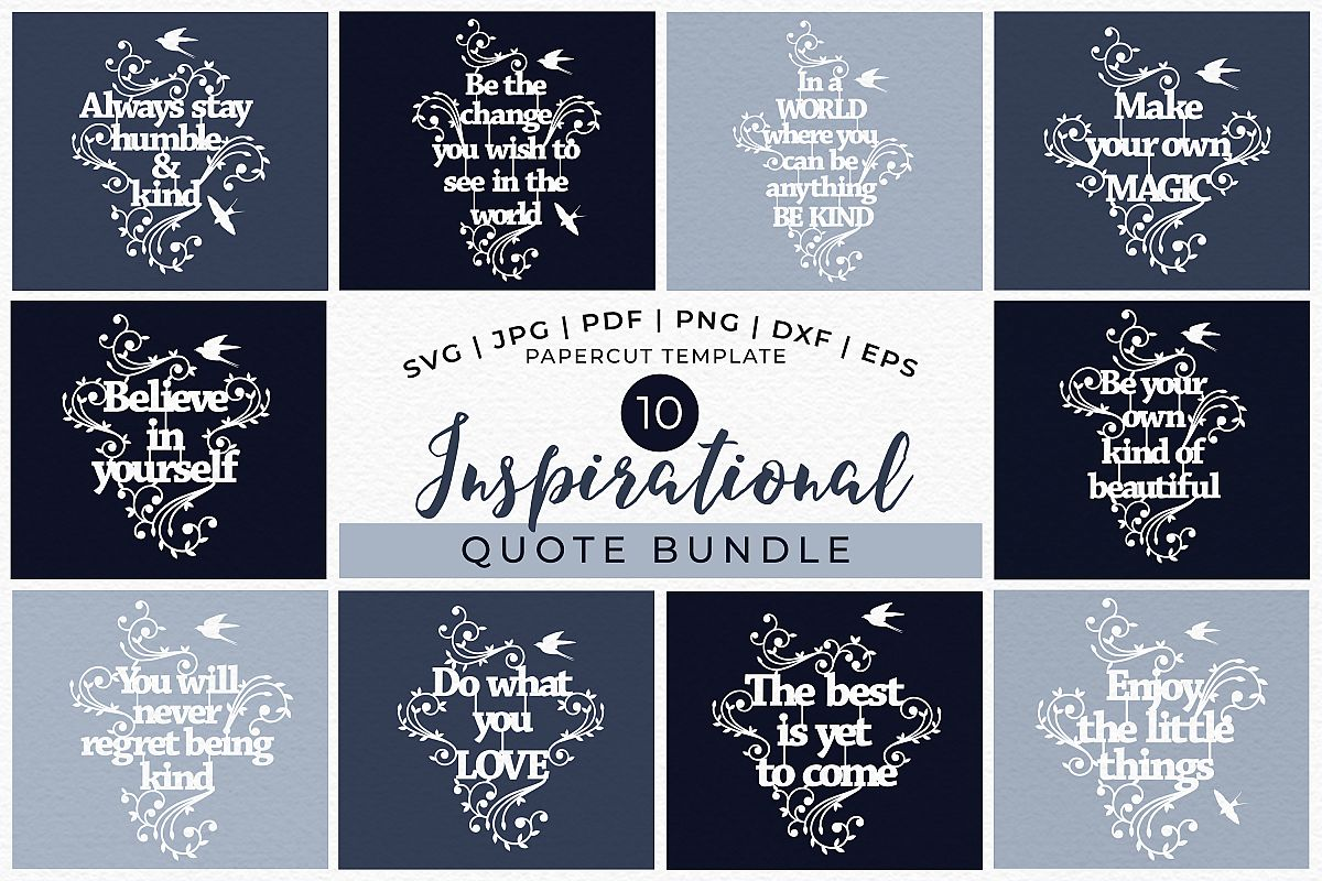 Inspirational Quotes Bundle - Papercut SVG DXF PNG JPG PD example image 1