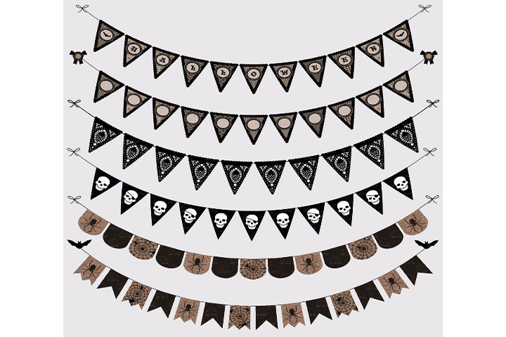 Halloween Gothic Bunting Banners Cliparts Pack, Halloween Party Vectors, Transparent Background, Instant Download Personal & Commercial Use example image 1