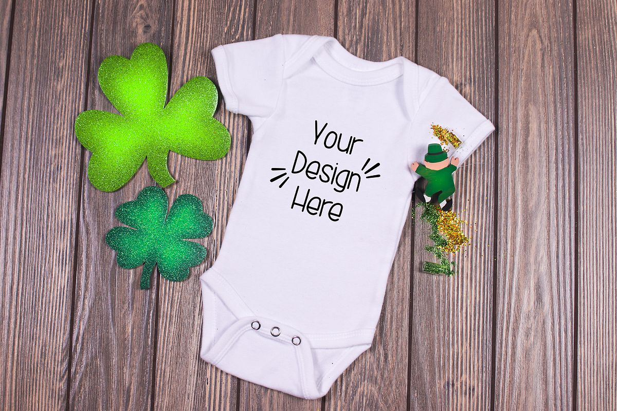 March Baby Suit Mockup 2| St Patricks Day Baby shirt Mockup example image 1