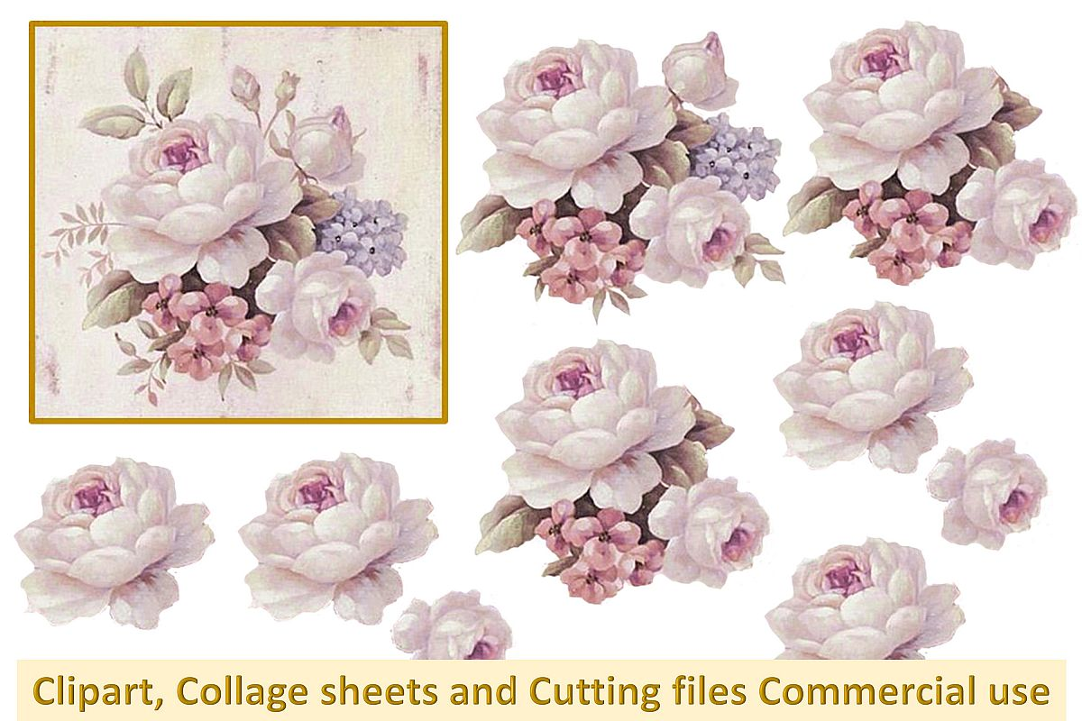 Printable Collage sheet with all PNG SVGs Vintage Pink Roses example image 1