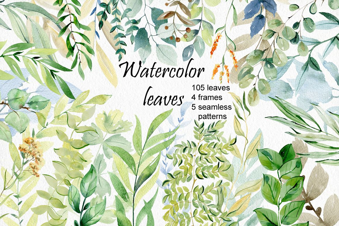 Watercolor leaves clipart. example image 1