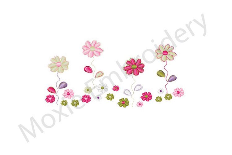 Flowers Embroidery Design Floral Border Design 125910