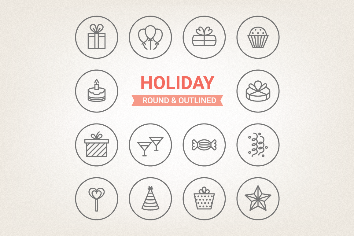 Circle Holiday Icons example image 1
