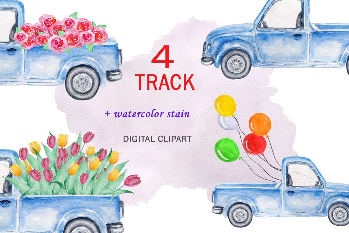 Watercolor Blue Track Clipart example image 1