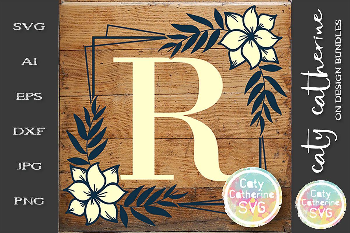 Letter R Floral Monogram Frame SVG Cut File example image 1