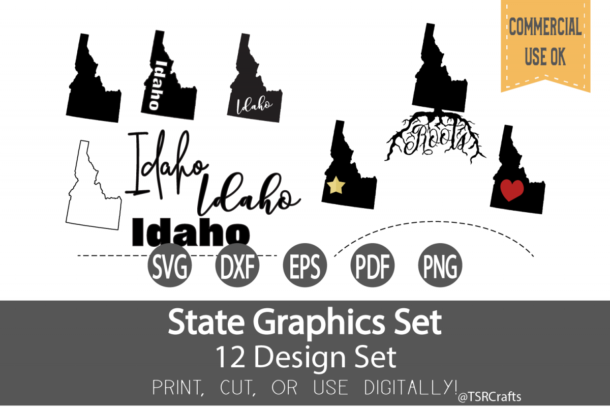 Idaho State Graphics Set - Clip Art and Digital Cut fi example image 1