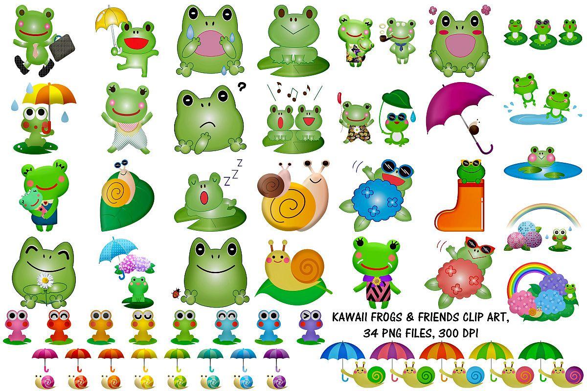 Kawaii Frogs & Friends Cute Clip Art example image 1